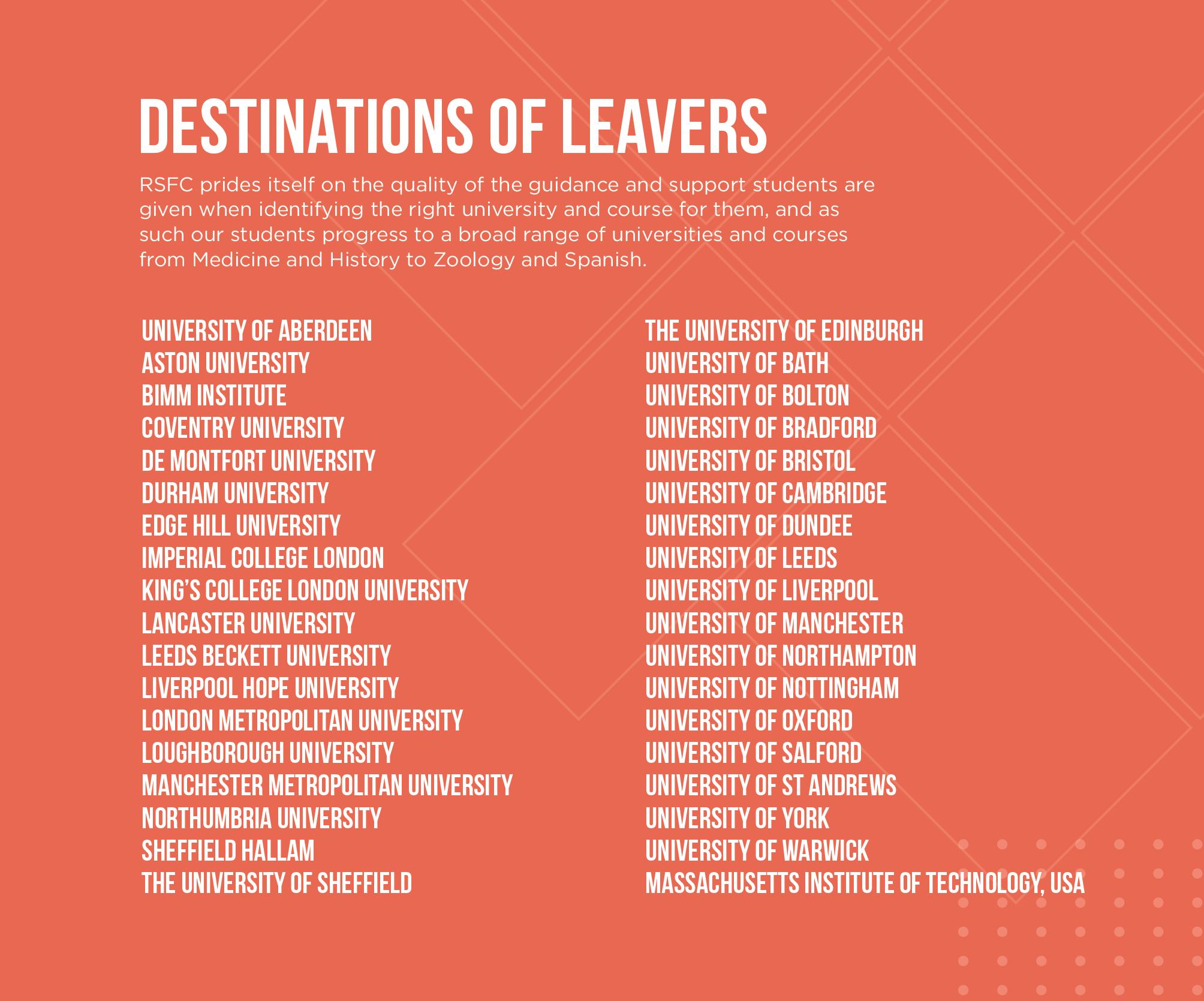Rsfc destinations of leavers list b